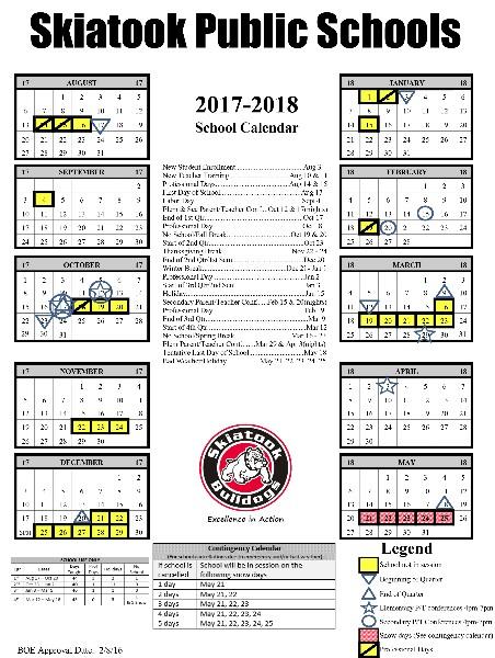 Skiatook Public Schools  District Calendar